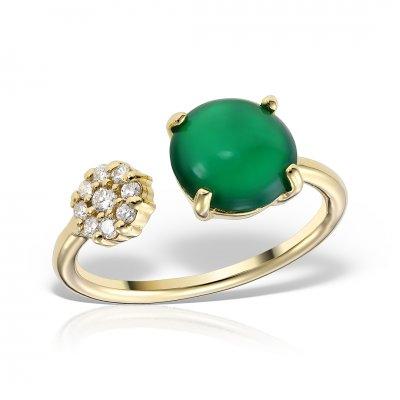 Inel Din Aur Galben Cu Onix Verde Si Diamante