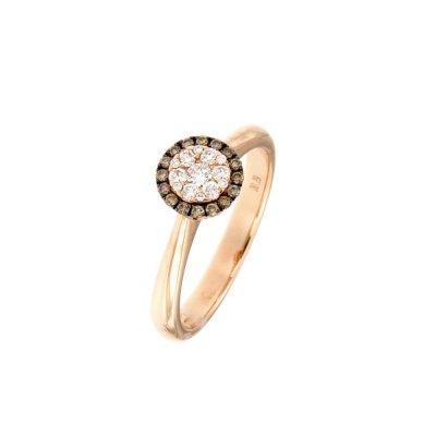Inel din aur roz cu anturaj diamante brown