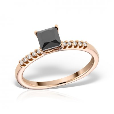 Inel din aur roz cu diamant negru princess cut