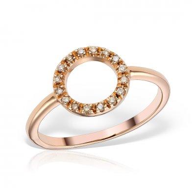 Inel Din Aur Roz Cu Diamante Brown
