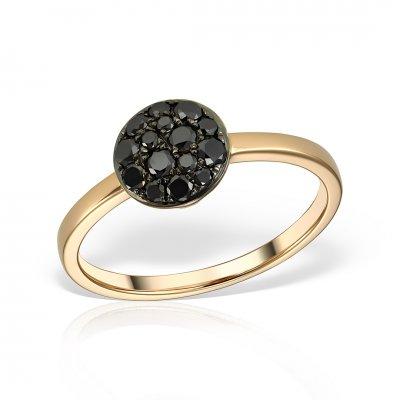 Inel din aur roz cu diamante negre