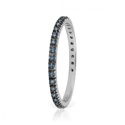 Inel Eternity Aur Alb Cu Diamante Albastre