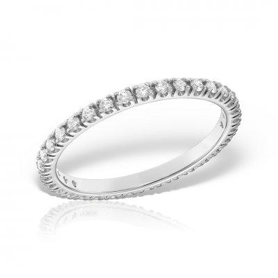 Inel eternity din aur alb cu diamante