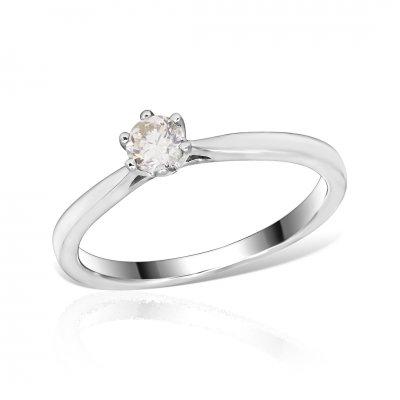 Inel logodna aur alb cu diamant