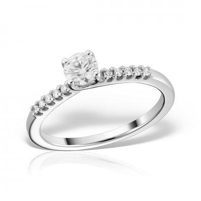 Inel logodna din aur alb cu diamante