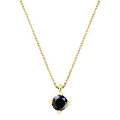 Lant Solitaire Aur Galben Cu Diamant Negru