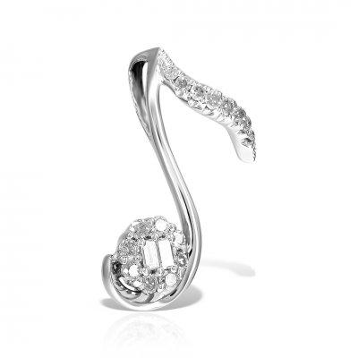 Pandantiv aur alb cu diamante