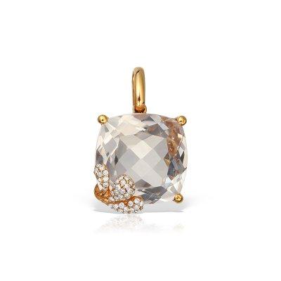 Pandantiv Cu Diamante Si Cristal De Roca