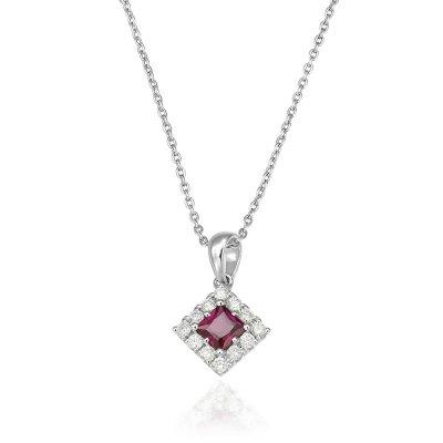 Pandantiv Cu Diamante Si Rubin