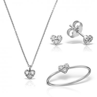 Set bijuterii aur alb cu diamante
