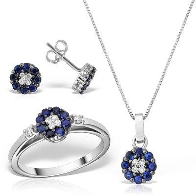 Set Bijuterii Cu Safire Si Diamante