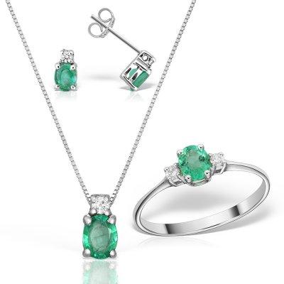 Set Bijuterii Cu Smaralde Si Diamante