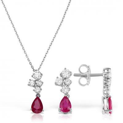 Set bijuterii din aur alb cu diamante si rubine